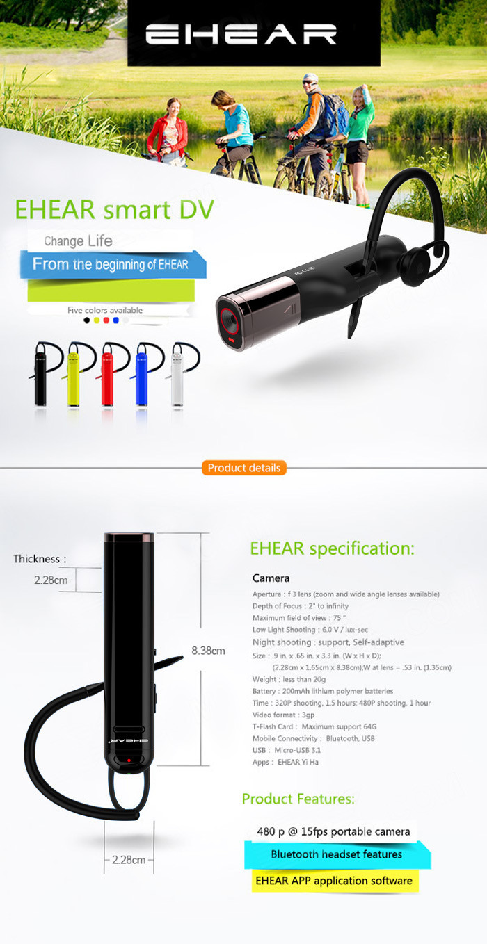 EHEAR E2 Bluetooth Headset Sports DV CMOS Smart Video Camera Camcorder for Android
