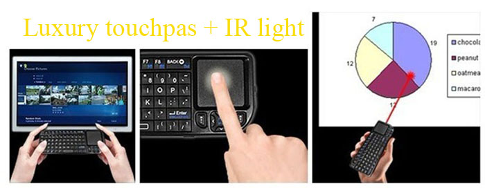 TR-MWK High Performance 2.4GHz Wireless QWERTY Keyboard Touchpad with Receiver for HTPC PS3 Xbox360