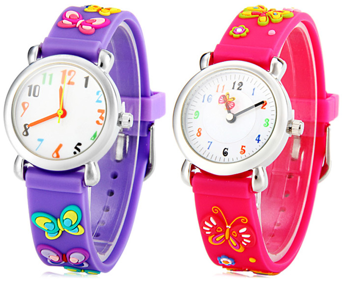 Christmas Present Quartz Watch with Butterfly Rubber Watch Band for Children