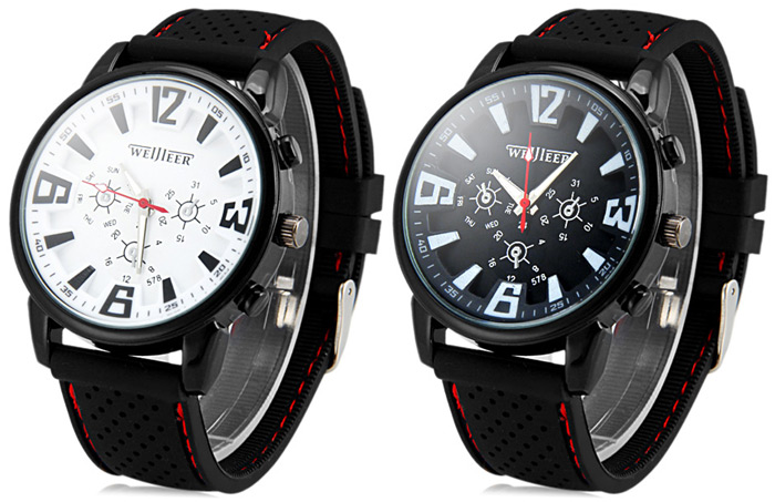 Weijieer 578 Quartz Watch Stereo Arabic Numerals Indicate Rubber Watch Band for Men