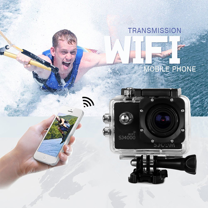 SJCAM SJ4000 WiFi 1080P FHD Sports DV Camcorder 170 Degree Wide Angle Lens IP68 Waterproof Car Video Recorder with Car Charger and Bracket