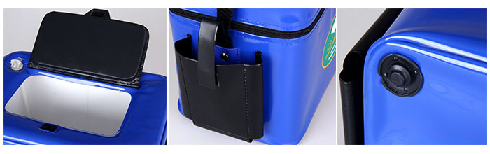 Portable Big Size Shrimp Box with Small Opening Air Hole Zipper Strap for Shrimping - Blue