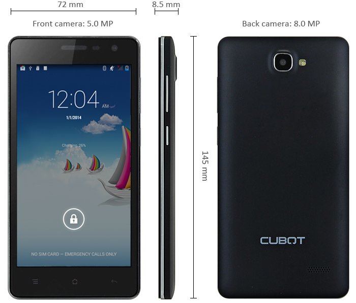 Cubot S168 Android 4.4 3G Smartphone 5.0 inch QHD IPS Screen MTK6582 Quad Core 1.3GHz 1GB RAM 8GB ROM 8.0MP Camera