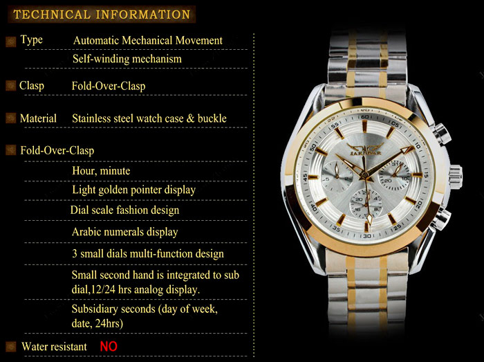 Jaragar A055 Male Self-winding Mechanical Watch Working Small Three Sub-dials Round Dial Steel Band