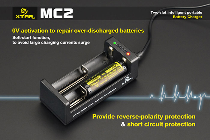 Xtar MC2 Portable USB Port 3 Stage Li-ion Battery Charger with LED Indicator