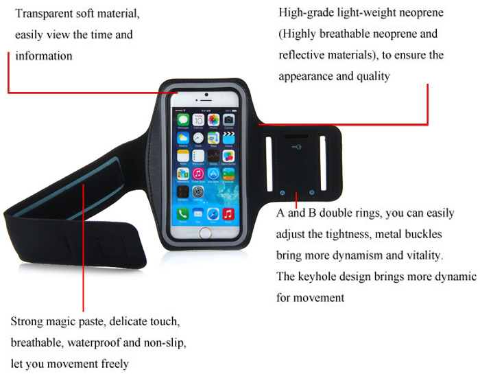 Dual Holes Sports Soft Tactility Durable Armband Holder Pouch Lycra Protective Case for iPhone 6 Plus - 5.5 inches
