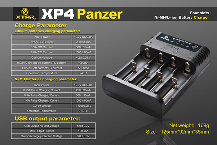 Xtar XP4 Intelligent Fireproof 4 Multi Channels Battery Charger with Car Charger - US Adapter