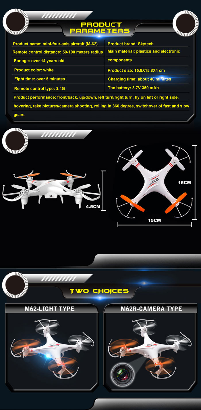 Skytech M62R 2.4GHz 4 Channel 0.3MP Camera RC Quadcopter of  6 Axis Gyro with Video Recording