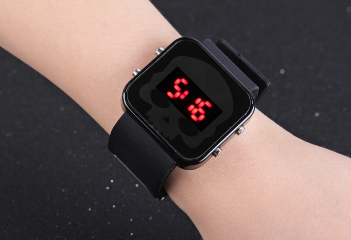 LED Sports Watch Skull Face Date Red Light Rubber Wristband