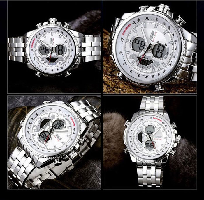 Skmei 0993 Dual Time Quartz Digital Watch Light Date Week Display 30M Water Resistant Stainless Steel Band for Men