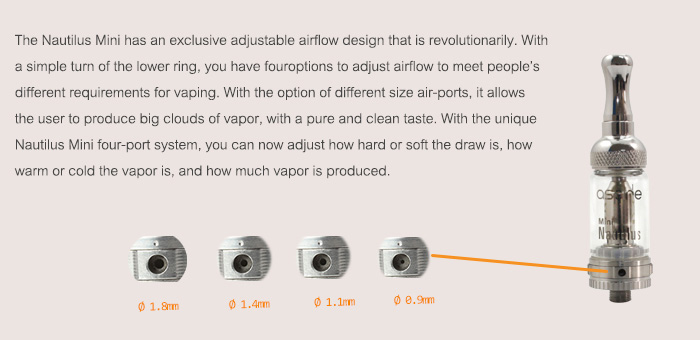 Authentic Aspire Mini Nautilus Stainless Steel Atomizer Kit for Electronic Cigarette (510 Thread)