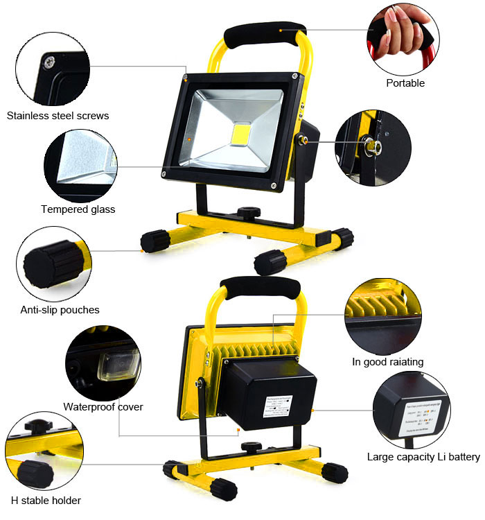 Portable 20W 1800LM Waterproof LED Flood Light Working Stand Project Lamp (White Light)