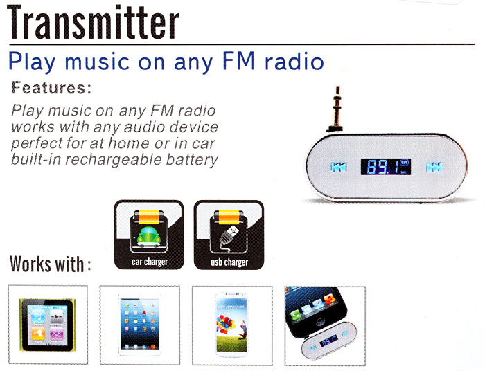TS-FM01 Ultra Mini 3.5mm Car FM Transmitter Audios Player with Hands-free Calls for iPhone 6S / 6S Plus / iPad Pro MP3 MP4 MP5 MID PC Laptop