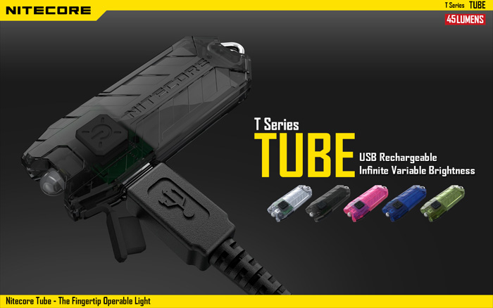 Nitecore T Series 45Lm 2 Modes Rechargeable LED USB Keychain Tube Light Flashlight