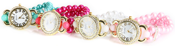 Yulan Quartz Chain Watch Double Beads Strap Diamond Round Dial for Ladies
