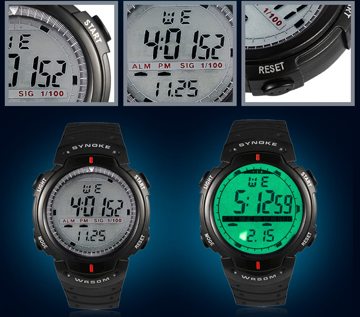 Synoke LED  Military Watch Week Stopwatch Alarm Date Water Resistant for Sports