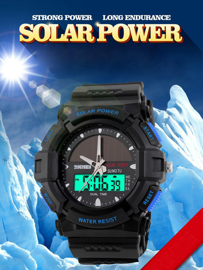 Skmei 1050 Solar Power Army LED Watch Date Week Alarm Dual-movt 5ATM Water Resistant Military Wristwatch for Sports