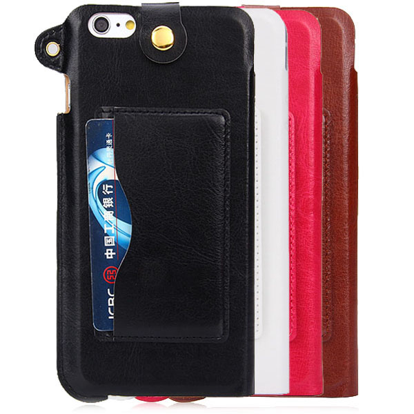 Artificial Leather Back Cover Case with Stand Card Holder and Lanyard for iPhone 6 Plus - 5.5 inches