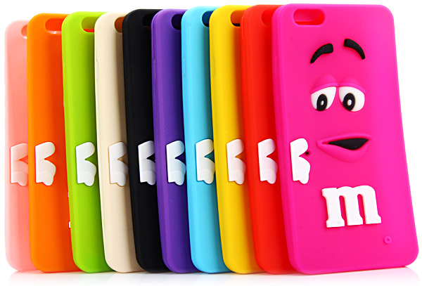 Soft Silicone Back Case Cover with 3D Cartoon M Chocolate Bean Design for iPhone 6 - 4.7 inches