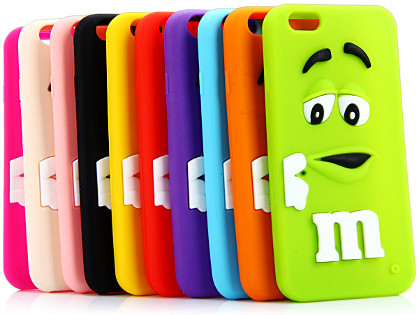 Soft Silicone Back Case Cover with 3D Cartoon M Chocolate Bean Design for iPhone 6 Plus - 5.5 inches