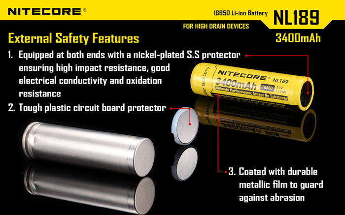 Nitecore NL189 18650 3.7V 3400mAh Rechargeable Protected Lithium Battery for Electronic Products