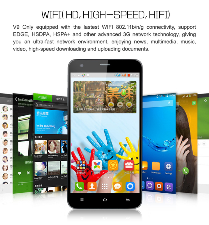 5.5 inch ONN V9 Only Android 4.4 3G Phablet with MTK6582 1.3GHz Quad Core 1GB RAM 4GB ROM WiFi GPS qHD Screen