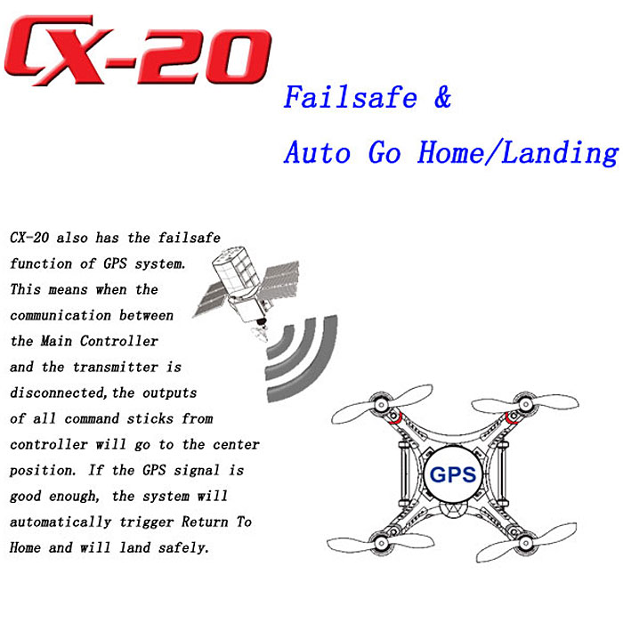 Cheerson CX - 20 4CH RC Quadcopter with GPS and Camera Mounting Functions
