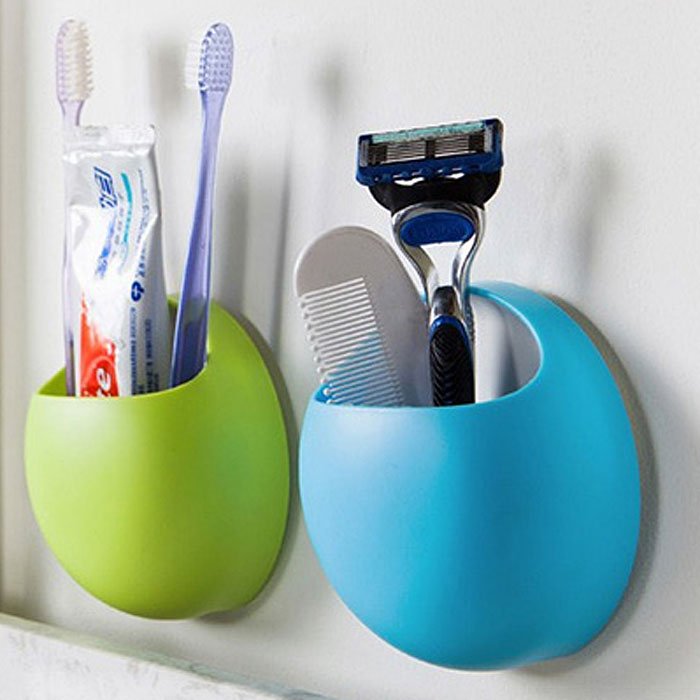 Multifunctional Egg Shaped Toothbrush / Spoon / Fork Holder with Double Suckers