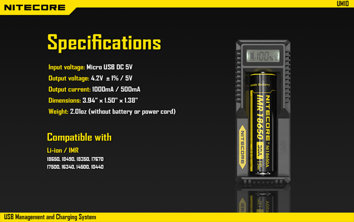 Newest Nitecore UM10 Integrated CC CV Battery Charger for Li-ion IMR Batteries