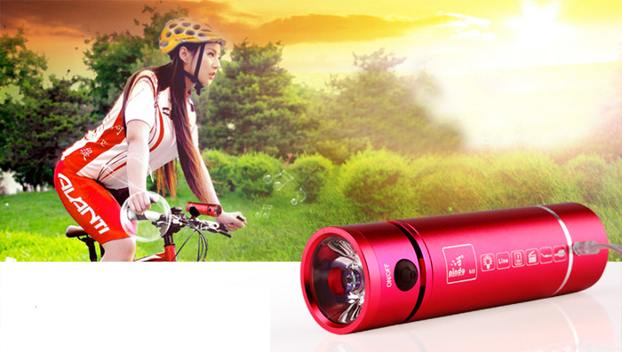 Pindo P-M8 Multi-function Flashlight Bicycle Speaker Bike MP3 Music Player FM Radio with TF Slot 3.5mm Jack for Mobile Phone