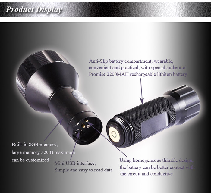 YT16 Cree C3 180Lm 3 Modes H.264 Water Resistant Military Flashlight Digital HD Video Recorder Mini Camera Camcorder