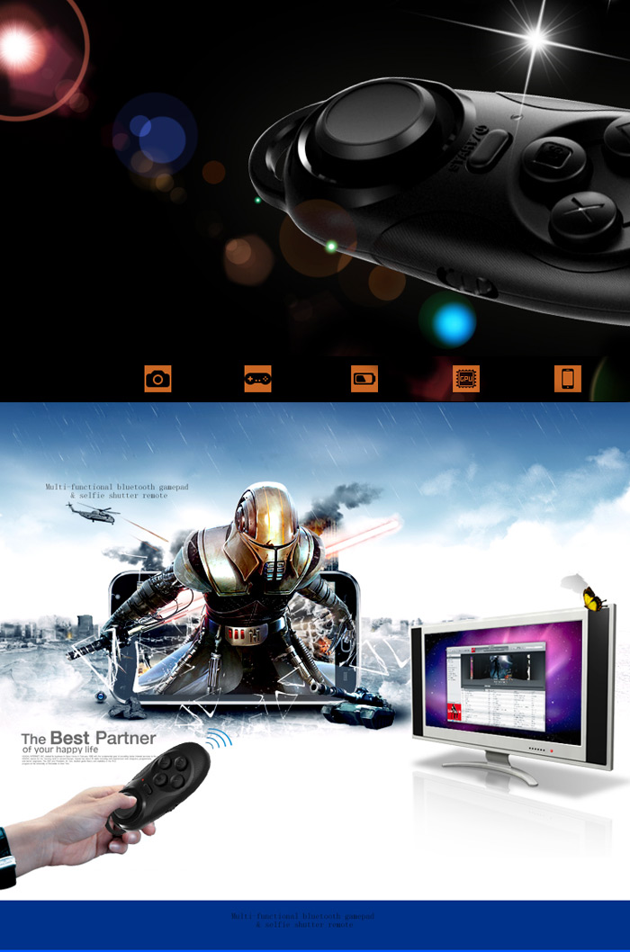 Personalized Bluetooth V3.0 Remote Control Selfie Camera Shutter with Gamepad Function for iPhone 6 / 6 Plus / iOS / Android Phone