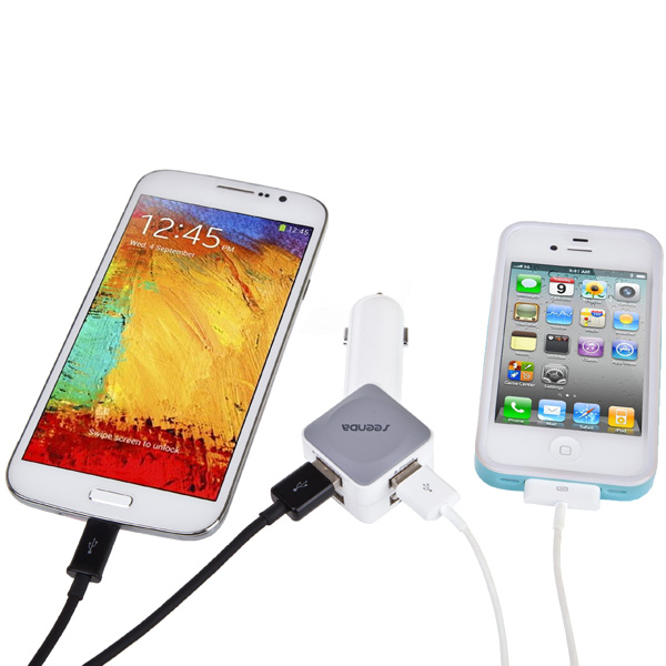 Seenda ICH-C01 4 USB Ports 5V Car Charger Adapter for iPhone Samsung Android Mobile Phones Tablets iPad