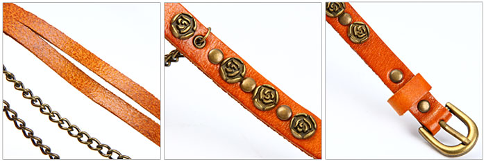 Vintage Leather Watch Band Studded with Flowers Strap Necklace