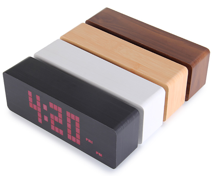 Red Light LED Wooden Alarm Clock Time Temperature Week Calendar Display for Home Office