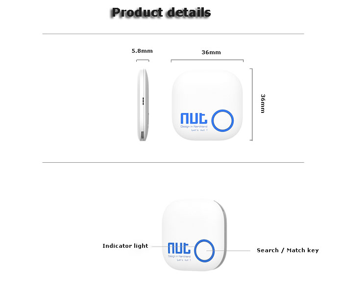 Nut 2 Intelligent Bluetooth Anti-lost Tracking Tag Alarm Patch Two-way Smart Finder