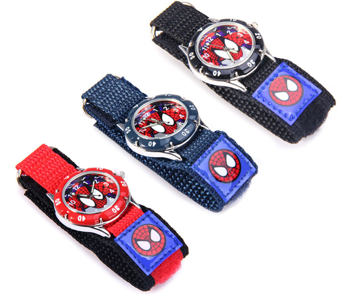 Quartz Watch with Spider-man Pattern Round Dial Velcro Nylon Band for Children