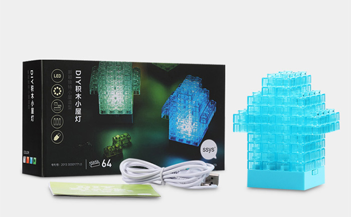 64Pcs / Lot Fashion DIY Free Assembly Building Blocks LED Light USB Powered Night Lamp Christmas Gift