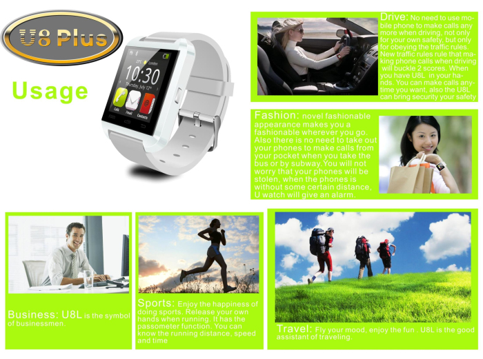U Watch U8 Plus Smartwatch Bluetooth Watch Passometer Touch Screen Answer and Dial the Phone Sleep Monitor