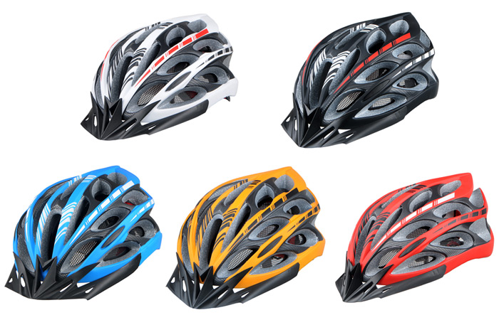 Unibody Integrated Bicycle Helmet Outdoor Sports Headgear with 6 LEDs Light Lamp