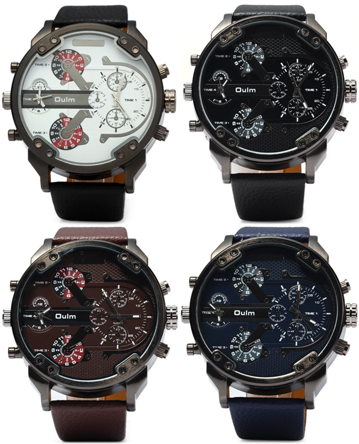 Oulm 3548 Male 2 - movt Quartz Watch with Big Dial Leather Watchband