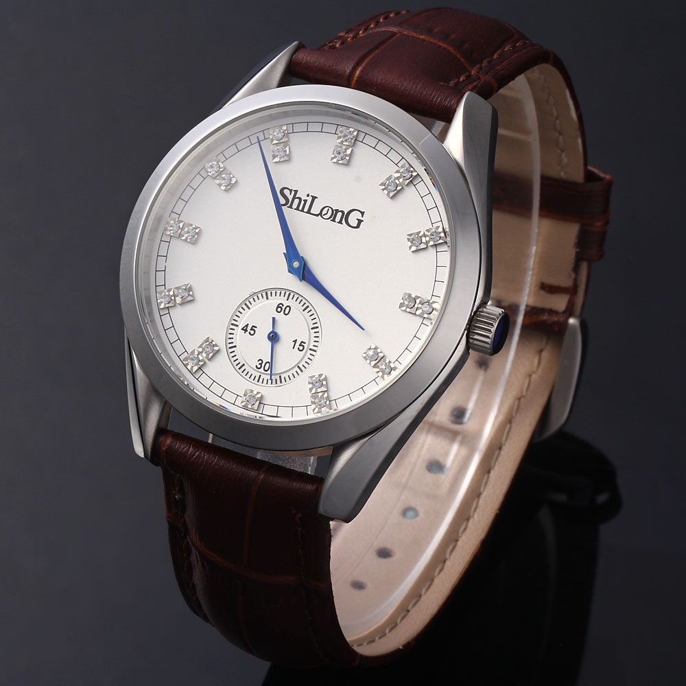 ShiLonG 8077G Stainless Steel Men Quartz Watch Japan Movt Round Dial Genuine Leather Watchband