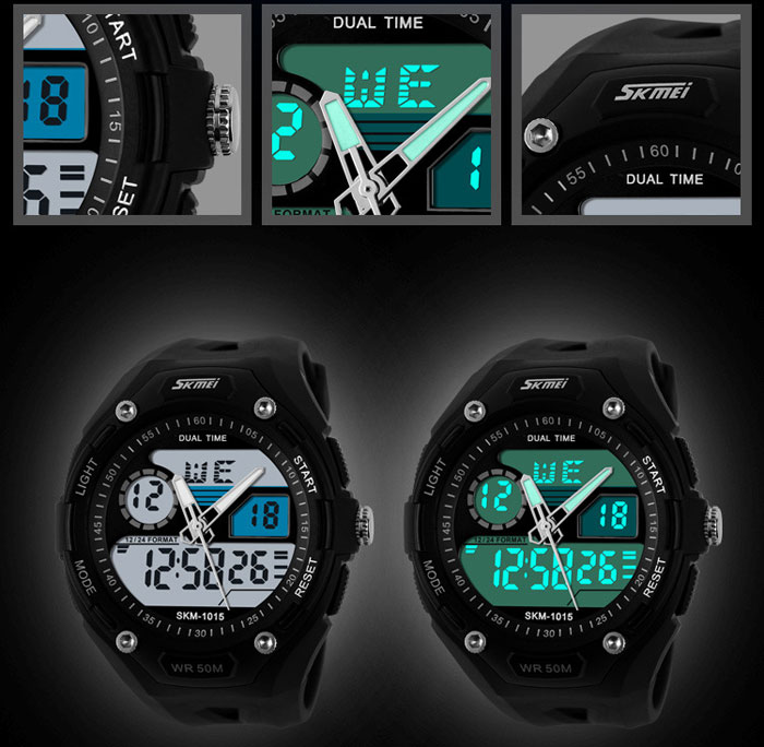 Skmei 1015 Double Movt Military LED Watch 5ATM Water Resistant Day Date Alarm Sports Wristwatch