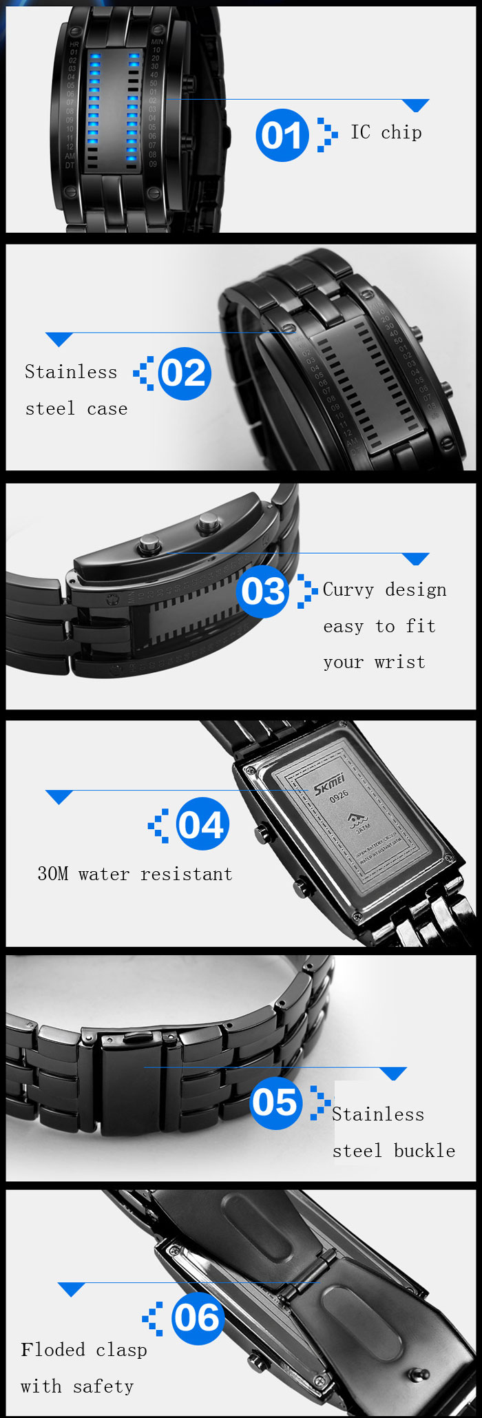 Skmei 0926 LED Military Watch Date 30M Water Resistant Stainless Steel Body