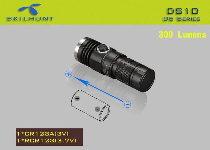 Skilhunt DS10 Cree XM L2 300LM 5 Modes Waterproof 16340 CR123A EDC LED Flashlight