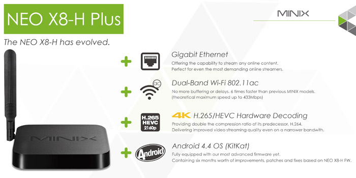MINIX NEO X8-H Plus Amlogic S812-H Quad Core Android 4.4 4K x 2K WiFi Bluetooth 4.0 TV Box Full 2160P H.265 HEVC Google TV Player 2GB RAM 16GB ROM + A2 Lite Air Mouse Support RJ45 HDMI SD Card Input (
