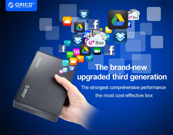 ORICO 3588US3 Tool Free Screw-Less 2.5 / 3.5 inch SATA External Hard Drive Enclosure Adapter Case Super Speed USB 3.0 for HDD SSD SATA Drive