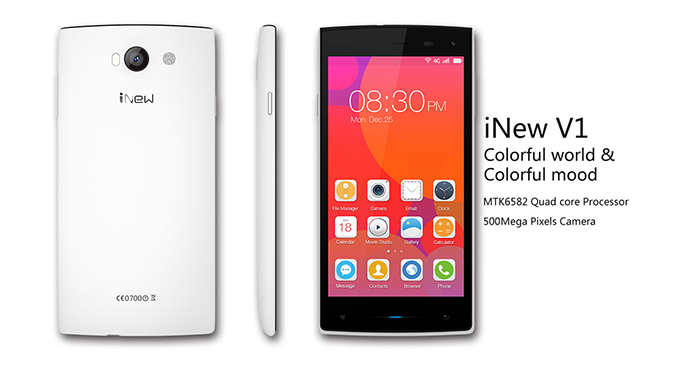 5.0 inch iNew V1 Android 4.4 3G Smartphone MTK6582 1.3GHz Quad Core 1GB RAM 8GB ROM GPS IPS Screen Dual Cameras