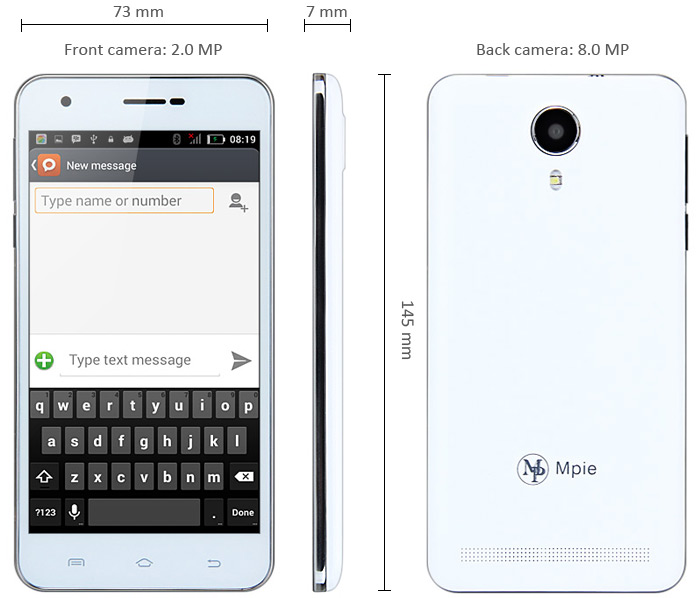 5.0 inch Mpie N9700 Android 4.4 3G Smartphone MTK6582 1.3GHz Quad Core 1GB RAM 8GB ROM GPS