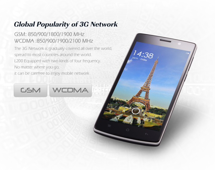 5.0 inch LANDVO L200 Android 4.4 3G Phablet with MTK6582 1.3GHz Quad Core 1GB RAM 8GB ROM WiFi GPS Off Screen Gesture Sensing QHD Screen